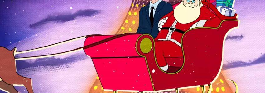 Extrait d'un dessin animé montrant Frank Sinatra avec le Père Noël dans son traineau volant devant la Tour Eiffel