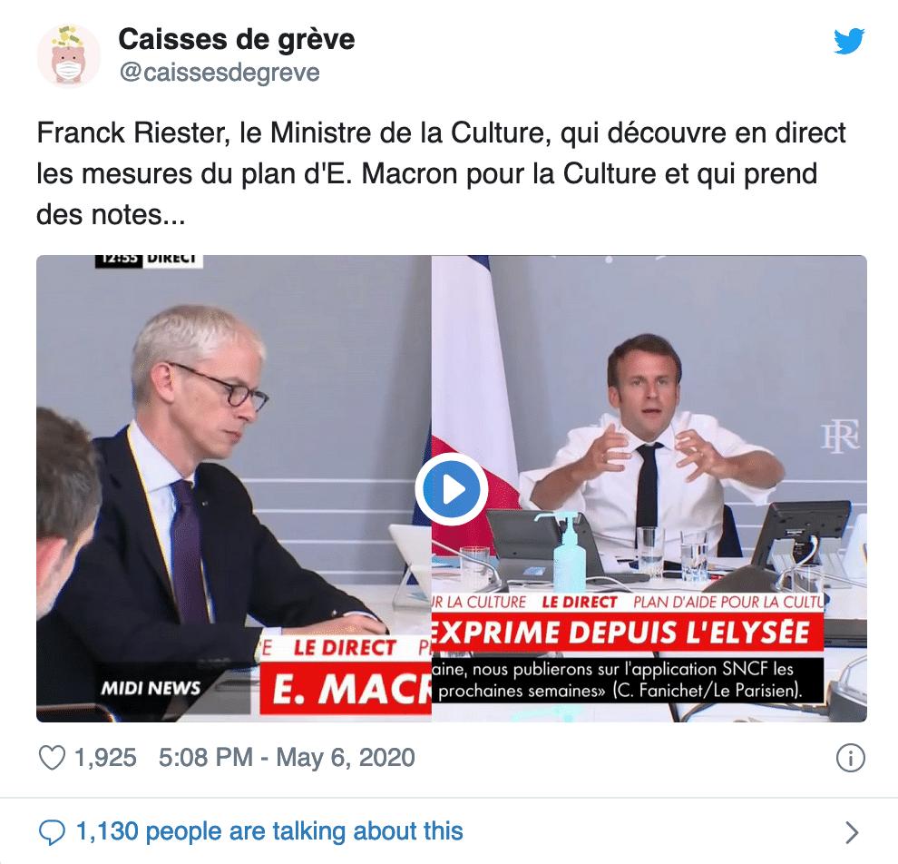 Plan d'aide à la culture : visioconférence d'Emmanuel Macron.