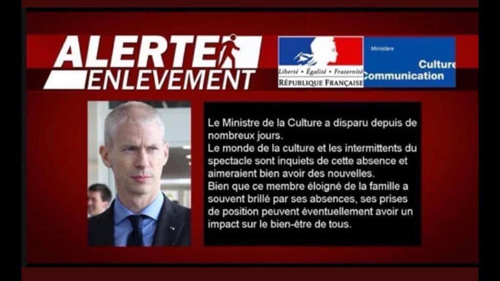 Plan d'aide à la culture : annonce humoristique d'alerte enlèvement de Franck Riester