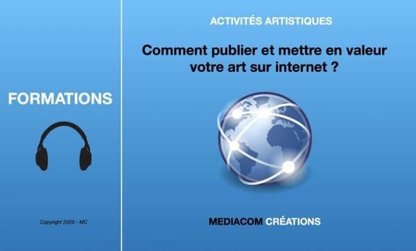 """Bannière de présentation de la formation en ligne """"Comment publier et mettre en valeur efficacement votre art sur internet"""""""