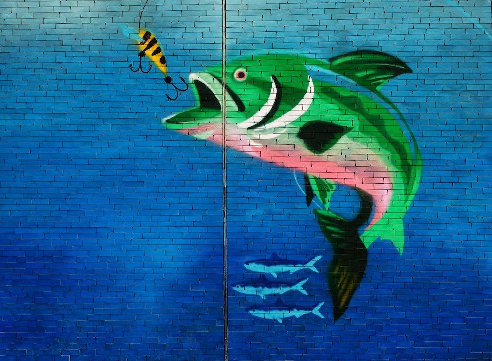 Une scène de pêche dans laquelle un poisson vert est en train de mordre à l'hameçon : fresque murale sur fond bleu